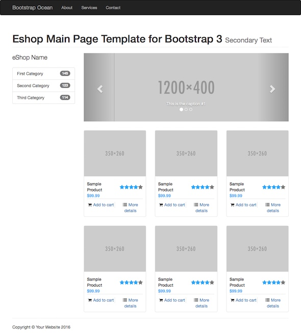 how to use bootstrap templates - eshop main page eshop main page bootstrap starting template